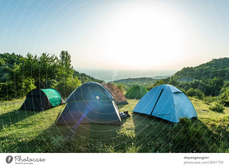 Many tents in the mountain. Sunshine morning Lifestyle Joy Relaxation Leisure and hobbies Vacation & Travel Tourism Adventure Camping Summer Mountain Hiking