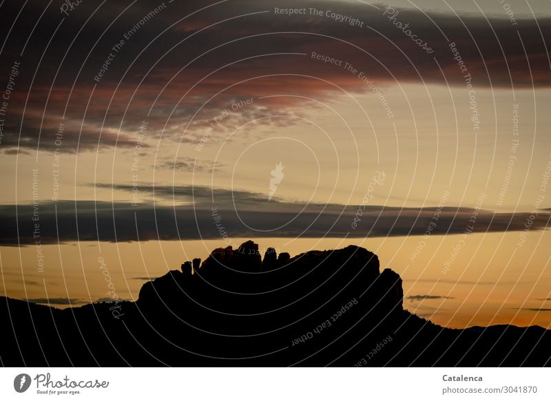 silhouette Mountain Hiking Nature Landscape Sky Clouds Horizon Sunrise Sunset Hill Rock Desert Old Authentic Exceptional Yellow Gold Gray Orange Black Moody