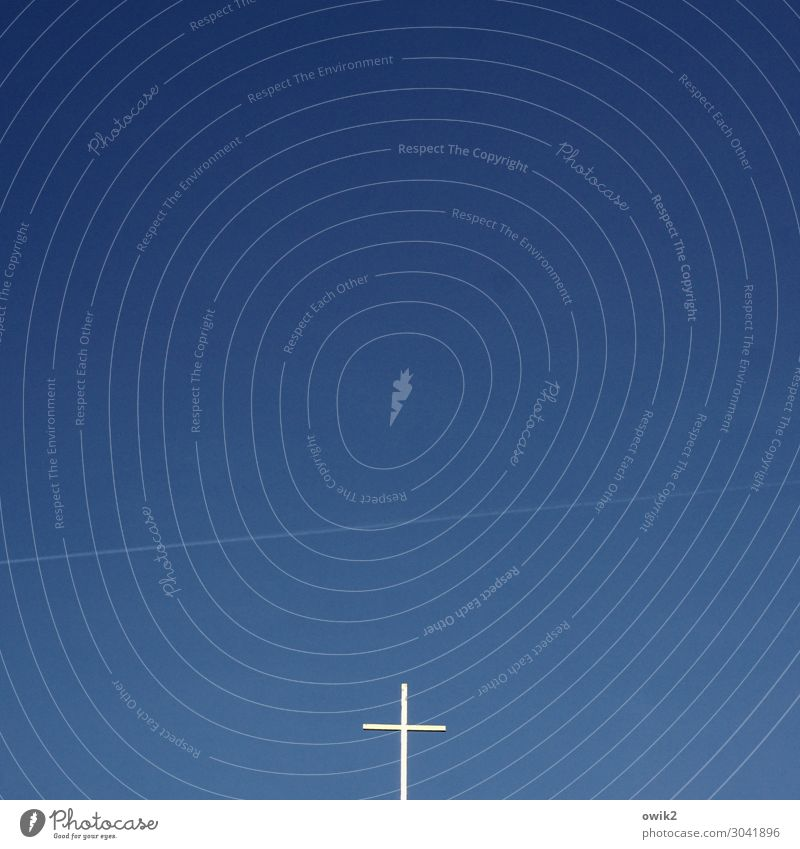 beacon Cloudless sky Beautiful weather Sign Religion and faith Christian cross Vapor trail Colour photo Exterior shot Deserted Copy Space left Copy Space right