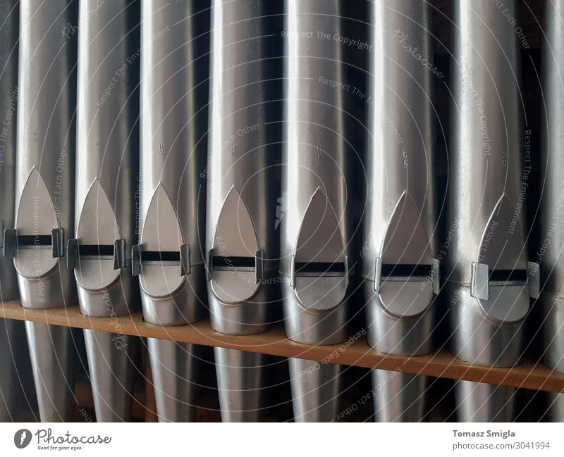 Pipe organ frontal shot, row of shiny pipes, pattern background Beautiful Playing Music Group Choir Church Tube Metal Steel Old Glittering Historic Natural