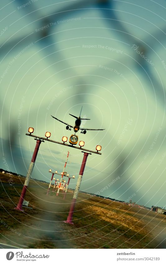 Sky Vacation & Travel Heaven Travel photography Berlin Tourism Copy Space Flying Aviation Airplane Fence Depth of field Departure Airplane landing Landing