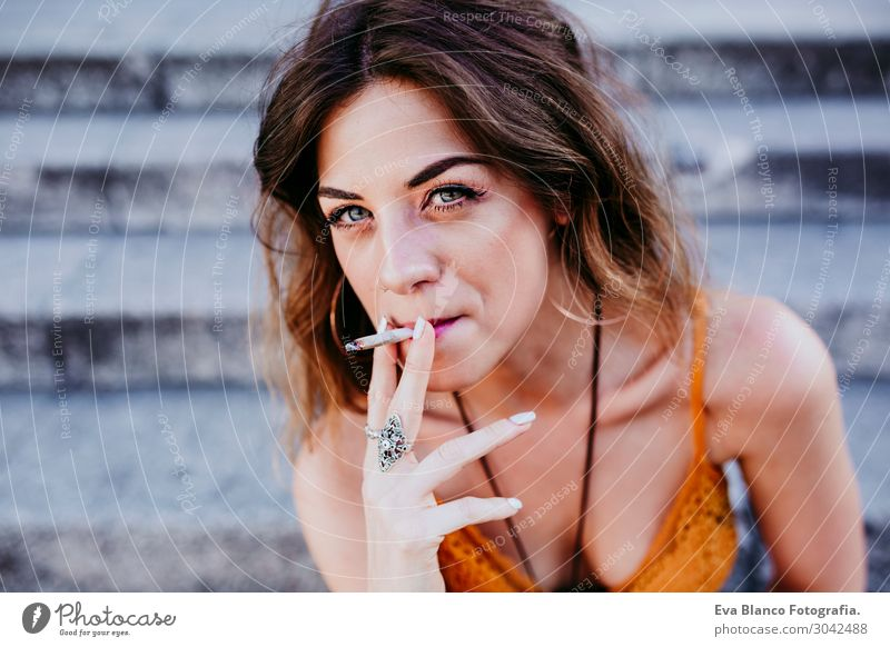 Beautiful caucasian woman smoking cigarette.Urban lifestyle Lifestyle Style Happy Freedom Summer Woman Adults Town Street Fashion Clothing Accessory Blonde