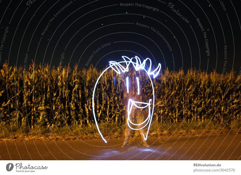 Light painting face Flashlight Long exposure Maize field Street Landscape Night Dark darkness creatively Idea Funny Face Smiley bollocks Gimmick Experimental