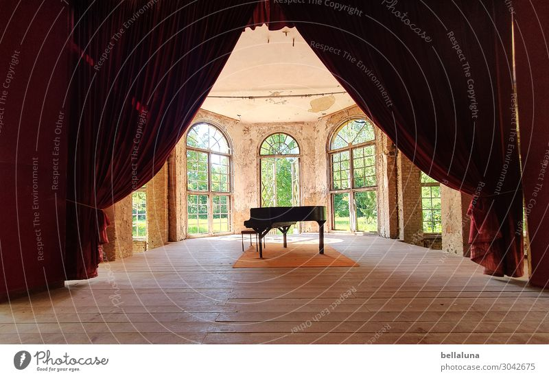 Raise the curtain! Art Work of art Architecture Stage Culture Music Concert Piano Deserted House (Residential Structure) Ruin Manmade structures Building Window