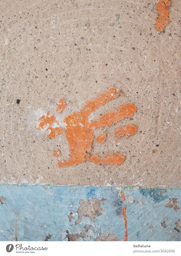 Blue Hand Architecture Wall (building) Building Wall (barrier) Orange Brown Fingers Manmade structures Decline Ruin Imprint