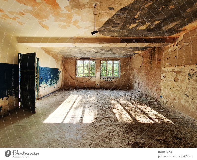 decay Sunlight Summer Deserted House (Residential Structure) Ruin Wall (barrier) Wall (building) Window Door Tourist Attraction Creepy Bright Decline Derelict