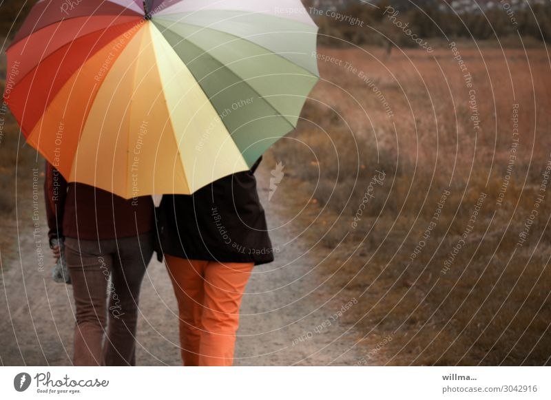 Two people walking through nature with a big colourful umbrella two persons Umbrella stroll Hiking Rainy weather To go for a walk Leisure and hobbies Weekend