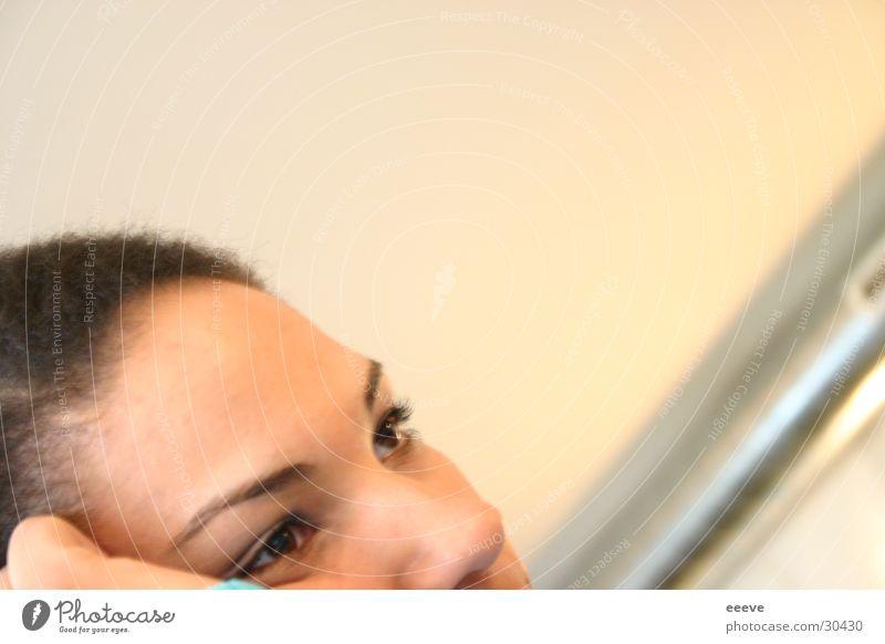 ponder Woman Think Concern Boredom Face Eyes