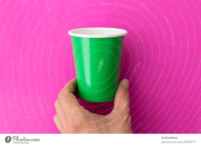 Hand with empty cup Beverage Drinking Cup Mug Fingers Packaging Sign Select Utilize Touch Movement To hold on Green Pink Empty drinking cup Recycling Individual