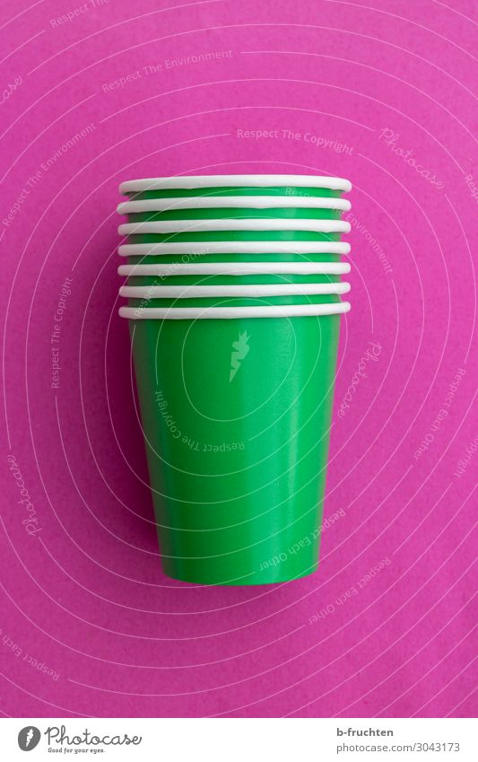 drinking cups Food Beverage Drinking Mug Party Feasts & Celebrations Packaging Select Utilize To enjoy Brash Happiness Fresh Green Pink Empty Stack Colour photo