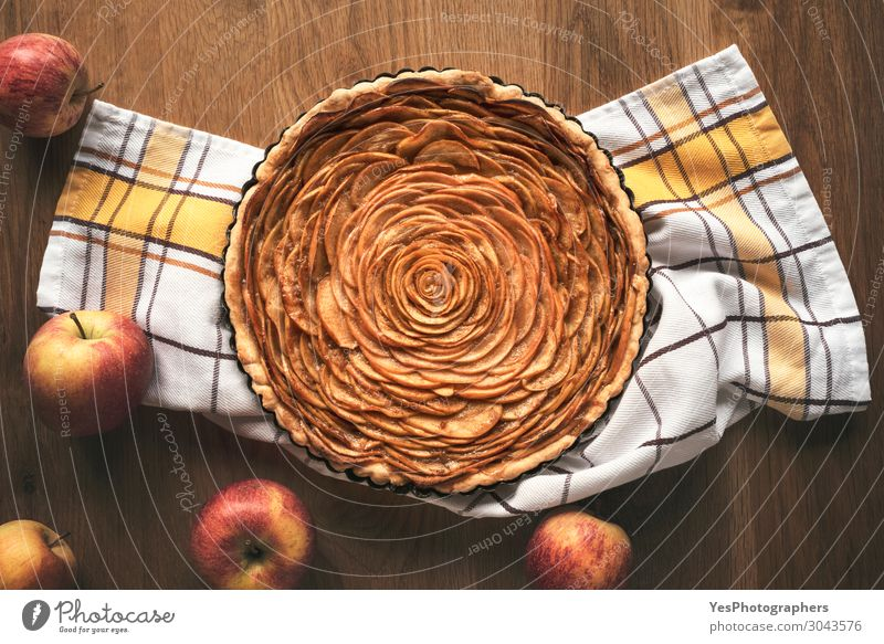 Apple pie in flower shape on wooden table Food Cake Dessert Candy Table Business Autumn Wood Fresh Tradition Thanksgiving day above view bakery goods christmas