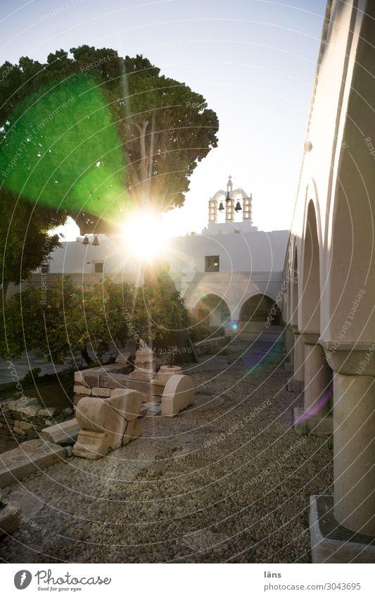 backlight Paros Greece Church Back-light Interior courtyard Deserted