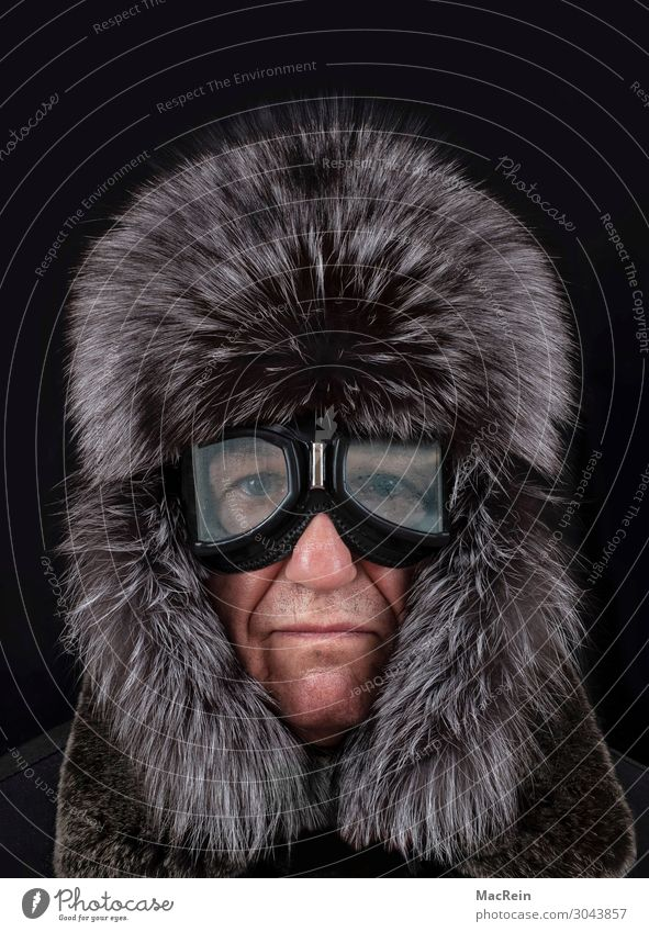 Man with fur cap Style Beautiful Winter Human being Adults 1 Warmth Fashion Clothing Pelt Leather Cap Freeze Cold White Misted up Frost Seasons Fur hat