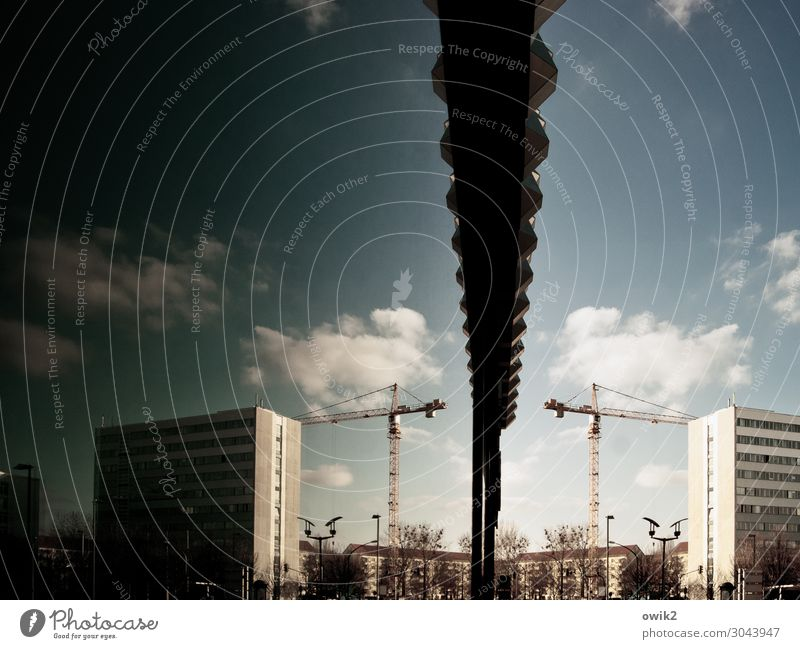 Sky Town Tree Clouds Wall (building) Building Wall (barrier) Facade Metal High-rise Glass Beautiful weather Large Tall Concrete Construction site