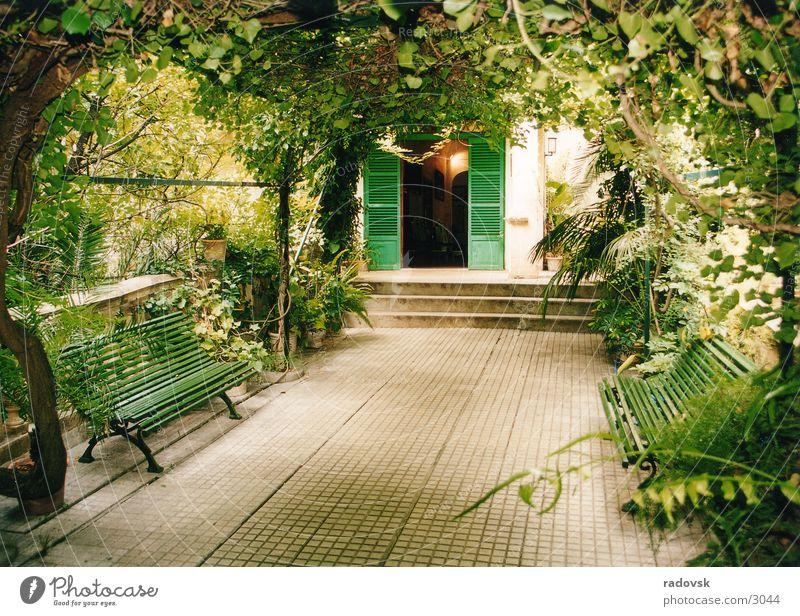 Arabian Garden Green Leaf Roof Bench