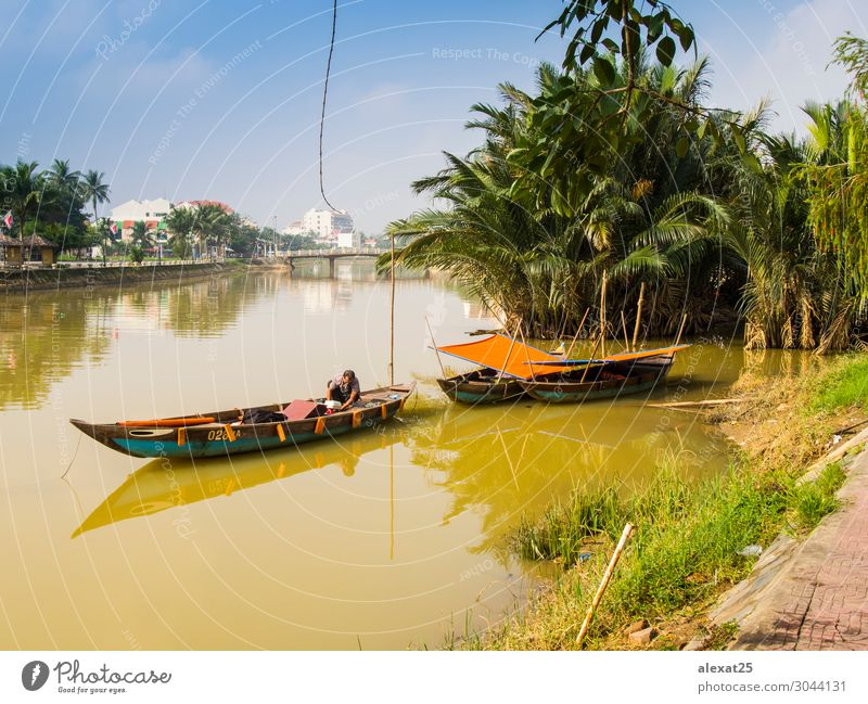Hoi An Vietnam, December 13, 2017 View of old town of Hoian Vacation & Travel Culture River Architecture Transport Watercraft Old Tradition Ancient Asia bicycle