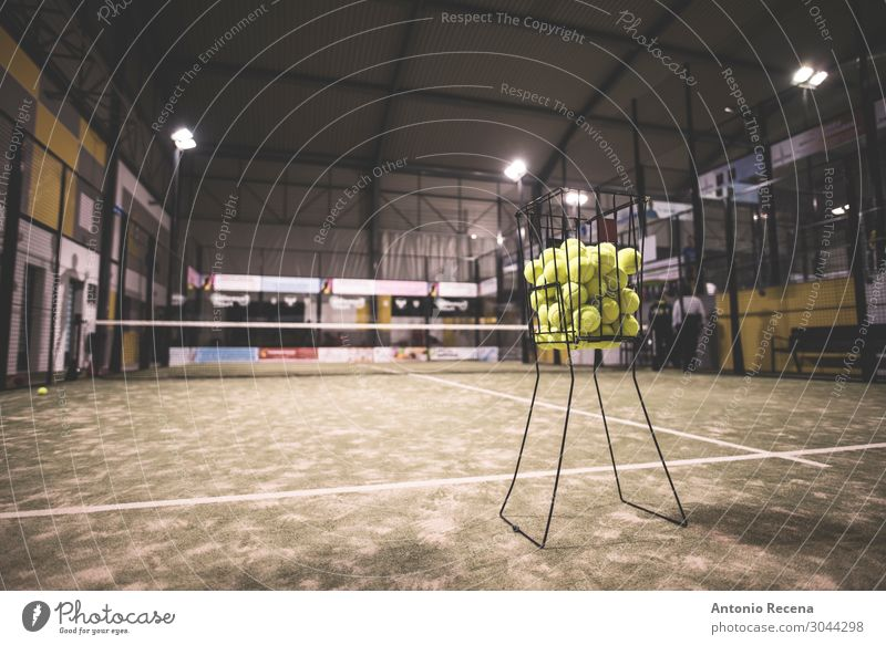Paddle tennis basket in court with balls. Relaxation Sports Grass Cool (slang) Dirty padel Tennis paddel tennis Court building Artificial indoor