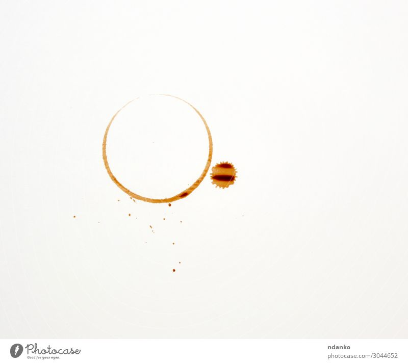 round imprint of a coffee cup Breakfast Beverage Coffee Espresso Table Earth Paper Drop Dirty Wet Brown Black White accident Aromatic background Café Caffeine