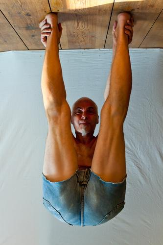 Human being Man Face Sports Stand Yoga Hang Attempt Flexible Gymnastics Bend Distorted Gravity Go crazy Adaptable