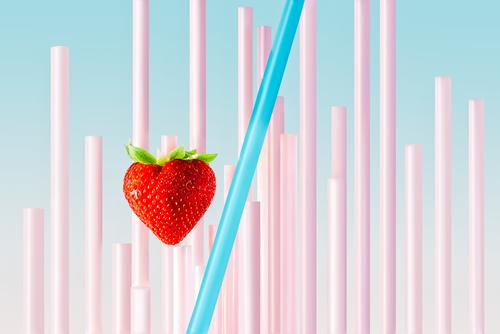A strawberry and straws with pastel background Fruit Breakfast Straw Life Summer Art Fresh Wild Blue Pink Red White Colour Strawberry Milkshake food healthy jar
