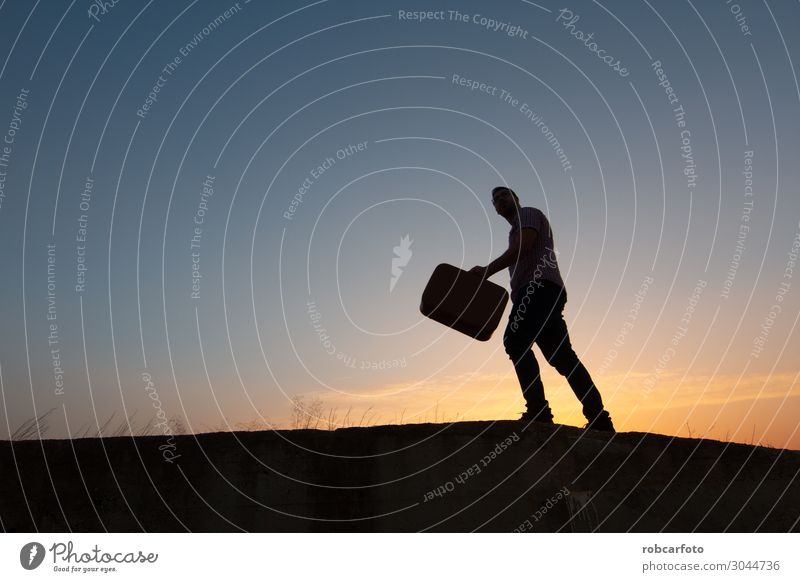 silhouette of man with suitcase at sunrise Lifestyle Joy Happy Vacation & Travel Tourism Trip Summer Sun Beach Human being Man Adults Nature Sky Horizon Coast