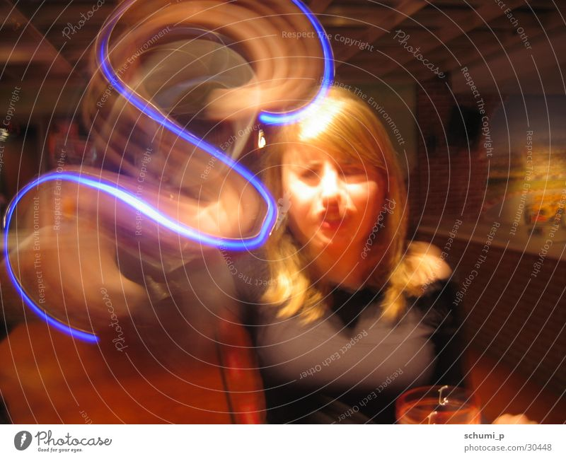 blue light snake Long exposure S String Sewing thread