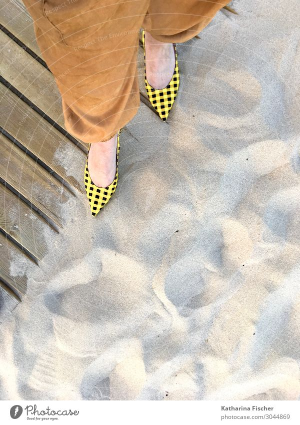 yellow-black chequered sling pumps at the sandy beach Legs Feet Sand Spring Summer Stand Brown Yellow Black Woodway Beach Sandy beach High heels Fashion Pants