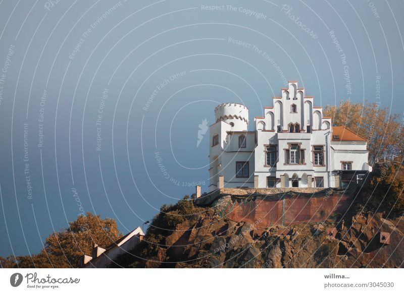the castle at dresden Castle Villa Dresden Cultural monument Tower Risk of collapse Mountain Rock Ledge Safety Weißerittztal Exterior shot Colour photo