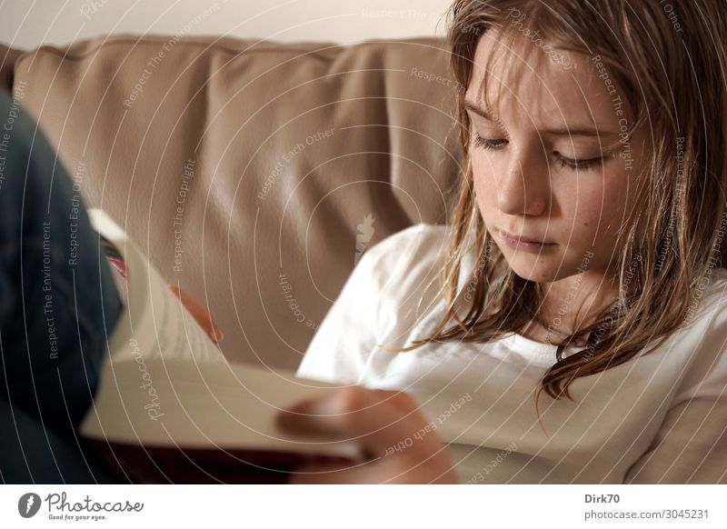 Reading educates! Young girl reading on the sofa. Leisure and hobbies Living or residing Flat (apartment) Sofa Living room Education Child Study Human being