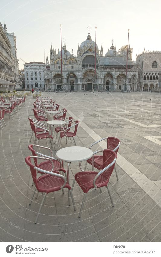 Piazza San Marco before the great onslaught Vacation & Travel Tourism Sightseeing City trip Cruise Gastronomy Spring Venice Italy Downtown Old town Deserted