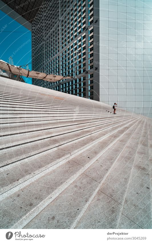 Stairs on the square de la defense Vacation & Travel Tourism Trip Adventure Freedom Sightseeing City trip Capital city High-rise Manmade structures Building