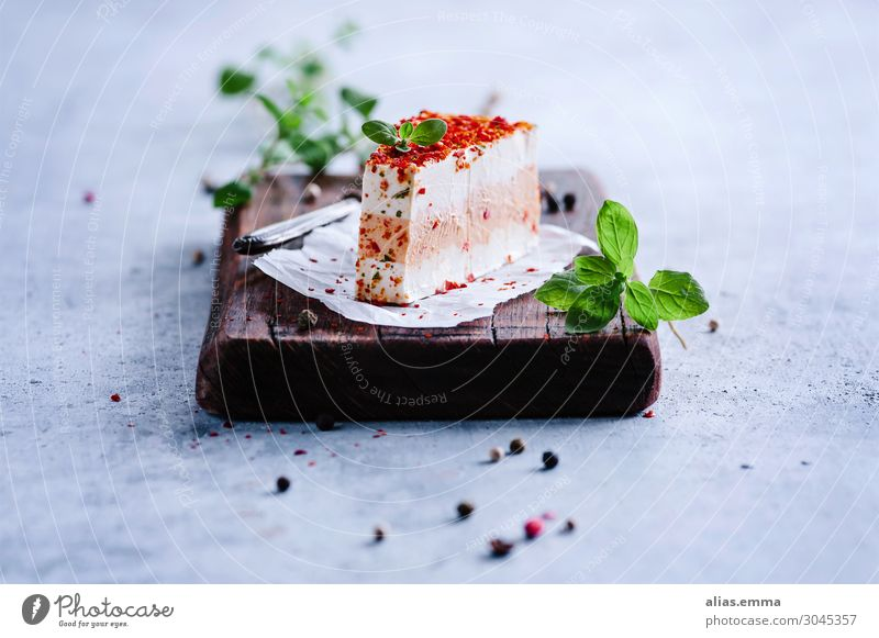 Fresh cheese with fresh herbs on a wooden board Cheese Cream cheese Food Healthy Eating Dish Food photograph Dairy Products Herbs and spices Rustic Thyme Chili