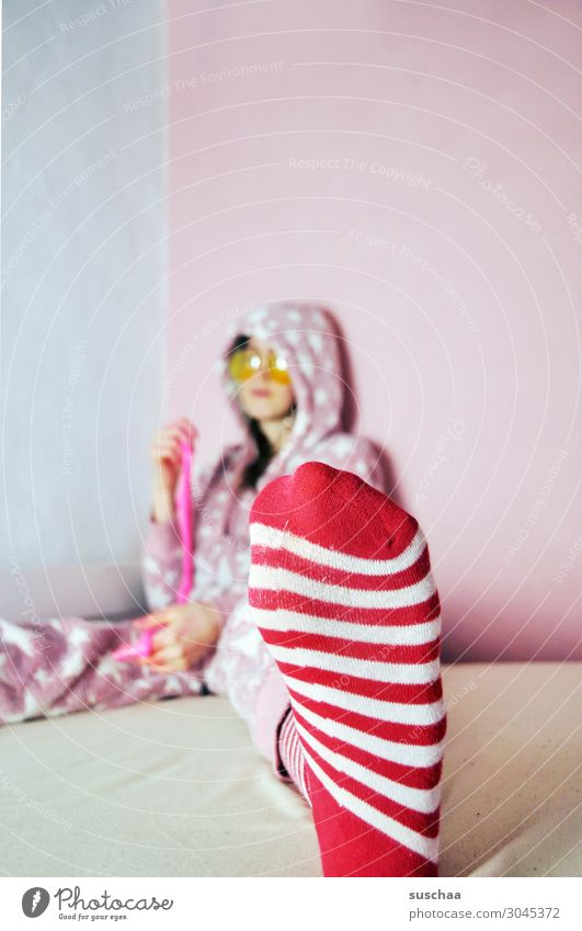 striped sock wearer teenager Youth (Young adults) Young woman youthful Infancy Goofy Crazy Daft Joy Brash Pink Striped Bed Cozy Playing Sunglasses Pyjama