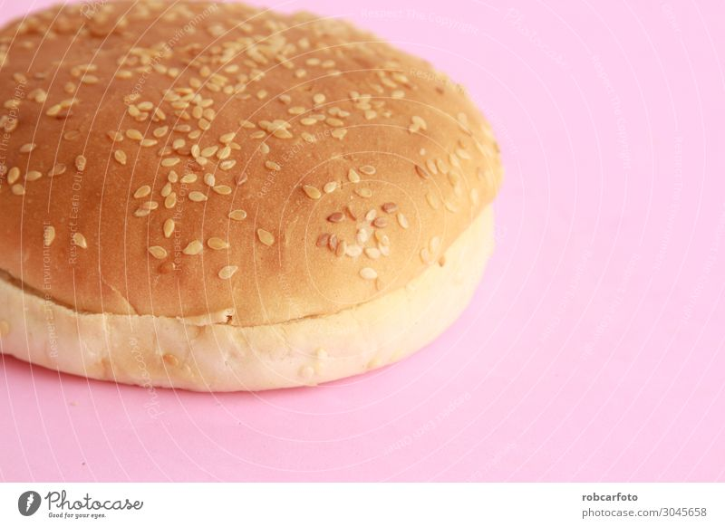 hamburger bun with sesame seeds Bread Roll Nutrition Eating Lunch Dinner Diet Fast food Fresh Delicious Yellow White Colour Sesame background Hamburger Top
