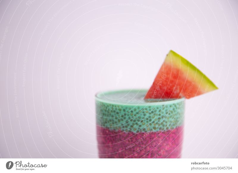 Glass of black chia pudding with watermelon taste White Red Eating Lifestyle Natural Fruit Nutrition Fresh Delicious Tradition Dessert Breakfast Vegetarian diet