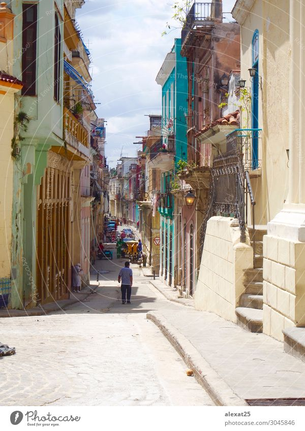 Colorful street of old Havana Vacation & Travel Tourism Building Architecture Transport Street Old america American caribbean City Classic Cuba Cuban holiday