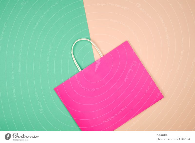empty pink paper shopping bag with a handle Colour Green Lifestyle Style Business Fashion Pink Design Modern Gift Shopping Paper New Packaging Storage