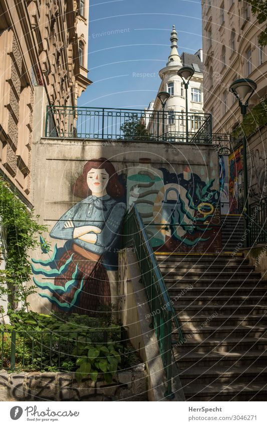 Young woman Town Beautiful House (Residential Structure) Architecture Graffiti Building Art Stairs Elegant Esthetic Friendliness Tower Manmade structures