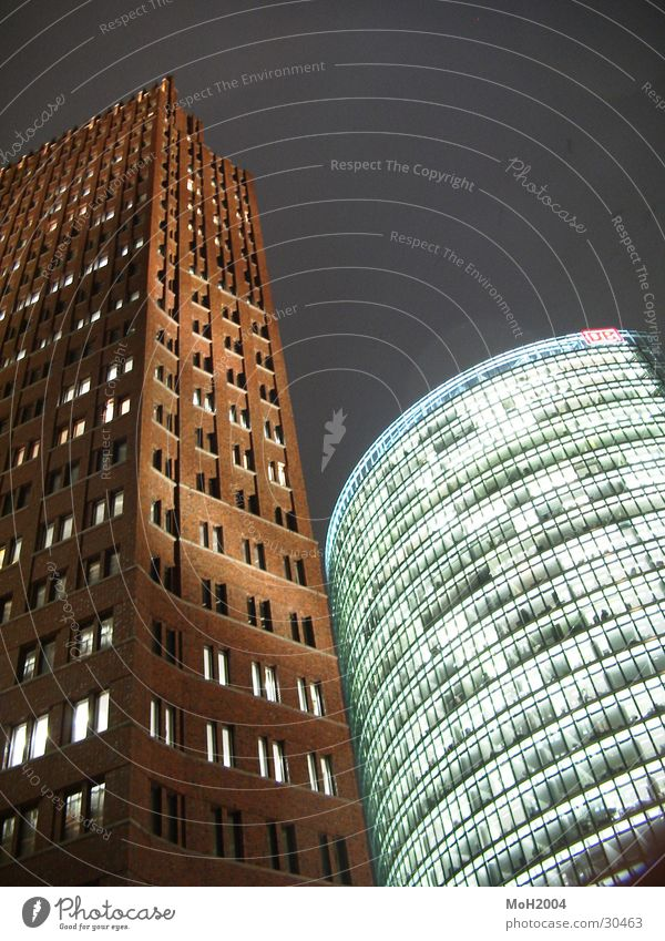 Together Potsdamer Platz House (Residential Structure) High-rise Facade Sony Center Berlin Light Twilight Architecture