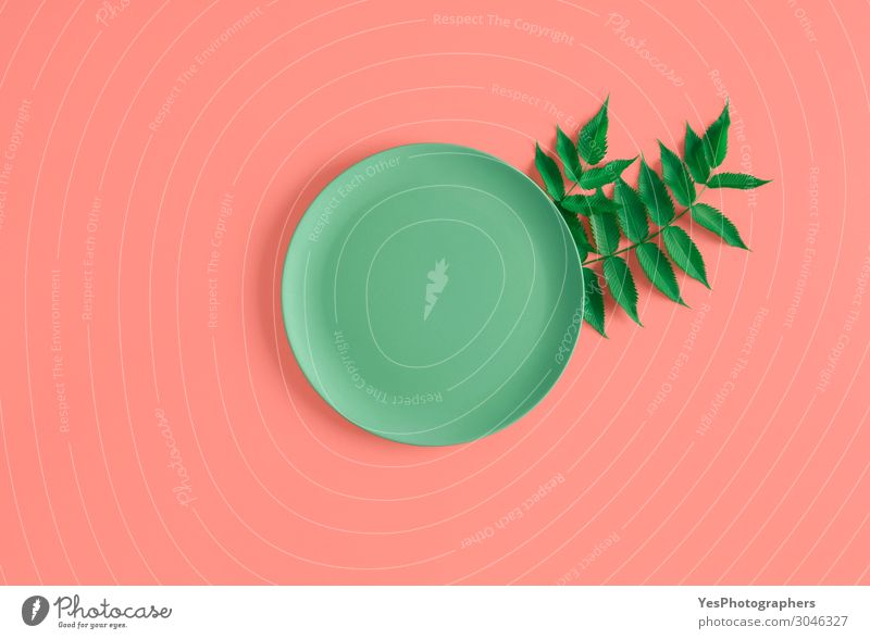 Empty plate and green leaves on a coral background Healthy Eating Green Dish Leaf Natural Pink Decoration Table Kitchen Restaurant Plate Conceptual design