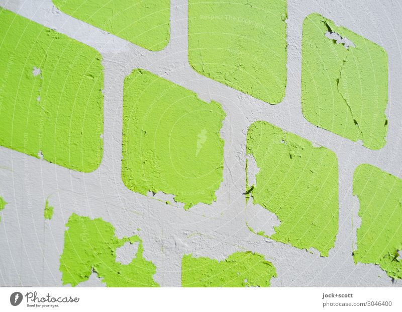between yellow and blue Style Wall (barrier) Wall (building) Decoration Square Simple Firm Near Retro Many Green Moody Orderliness Perturbed Esthetic Design