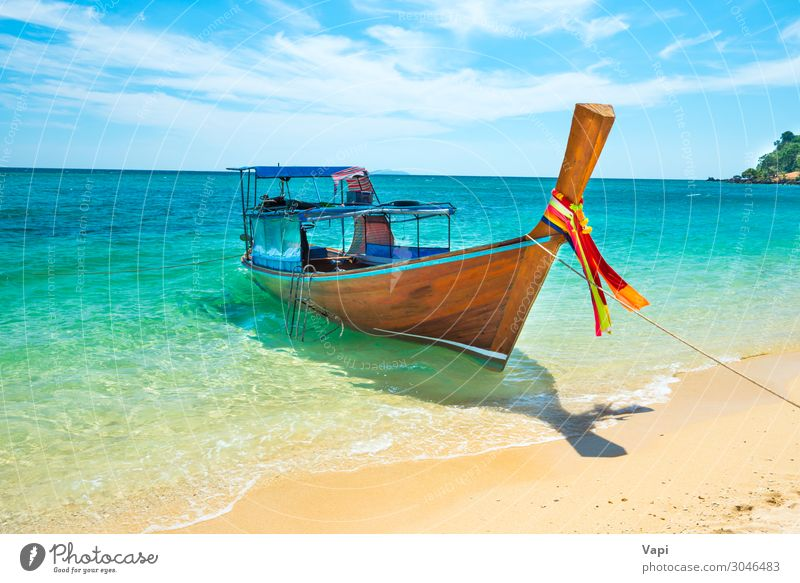 View of traditional thailand longtail boat at sand beach Sky Vacation & Travel Nature Summer Blue Beautiful Green Water White Landscape Red Sun Ocean Relaxation