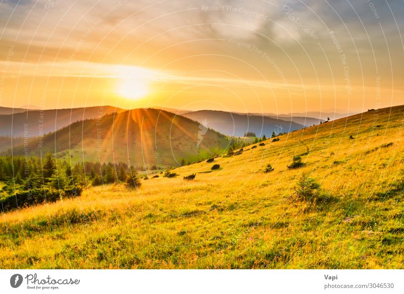 Sunset in the mountains Beautiful Vacation & Travel Tourism Adventure Far-off places Freedom Summer Summer vacation Mountain Hiking Environment Nature Landscape