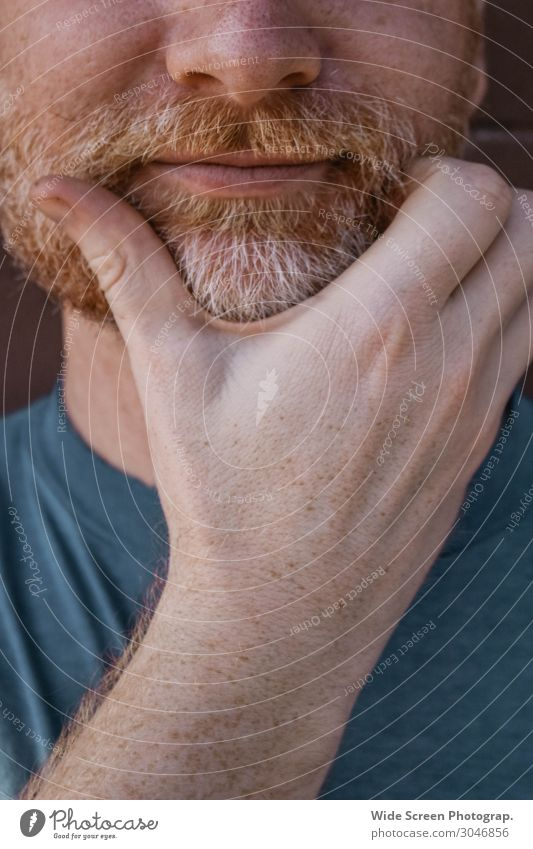 Itchy Beard Masculine Man Adults Face Mouth Chest Hand Fingers Freckles 1 Human being 18 - 30 years Youth (Young adults) 30 - 45 years T-shirt Red-haired