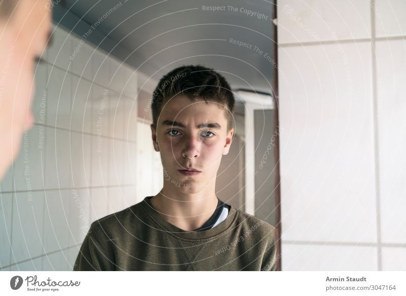 Human being Youth (Young adults) Young man White Calm Face Lifestyle Moody Masculine 13 - 18 years Authentic Future Bathroom Mirror Tile Self-confident