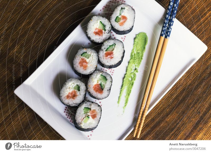 Sushi date Food Fish Nutrition Eating Asian Food Cutlery Green Red Wasabi Chopstick white Colour photo Studio shot Deserted Bird's-eye view