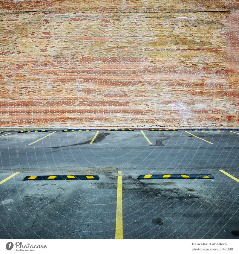 Where's my car...? Town Architecture Wall (barrier) Wall (building) Facade Transport Road traffic Motoring Car Free Modern Yellow Gray Orange Red Design