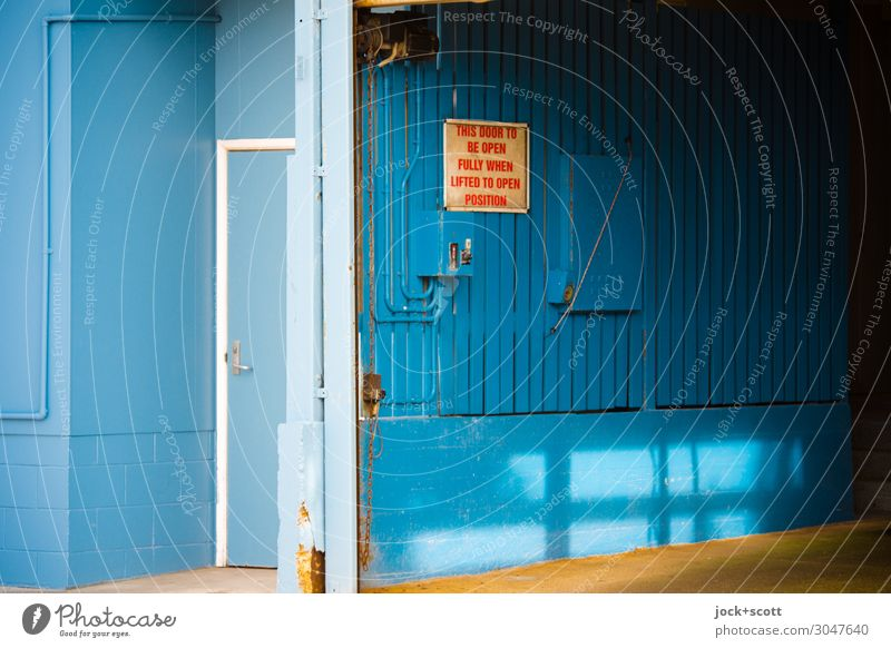 this door to be open fully when lifted to open position Blue Calm Wood Wall (building) Style Wall (barrier) Moody Retro Free Door Open Authentic Signage