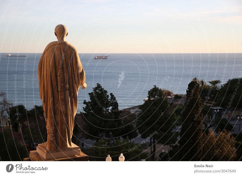 sea view Art Sculpture tarragona Spain Town Old town Statue Figure Tourist Attraction Monument Far-off places Ocean Colour photo Exterior shot Twilight