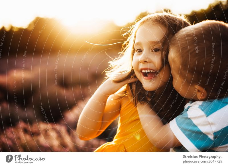 Brother and sister at sunset Nature Summer Sun Joy Face Lifestyle Funny Emotions Family & Relations Laughter Happy Boy (child) Copy Space Playing Freedom